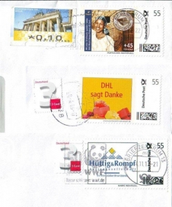 Deutsche Post: LOT mit 3 personalisierten Briefmarken, gestempelt